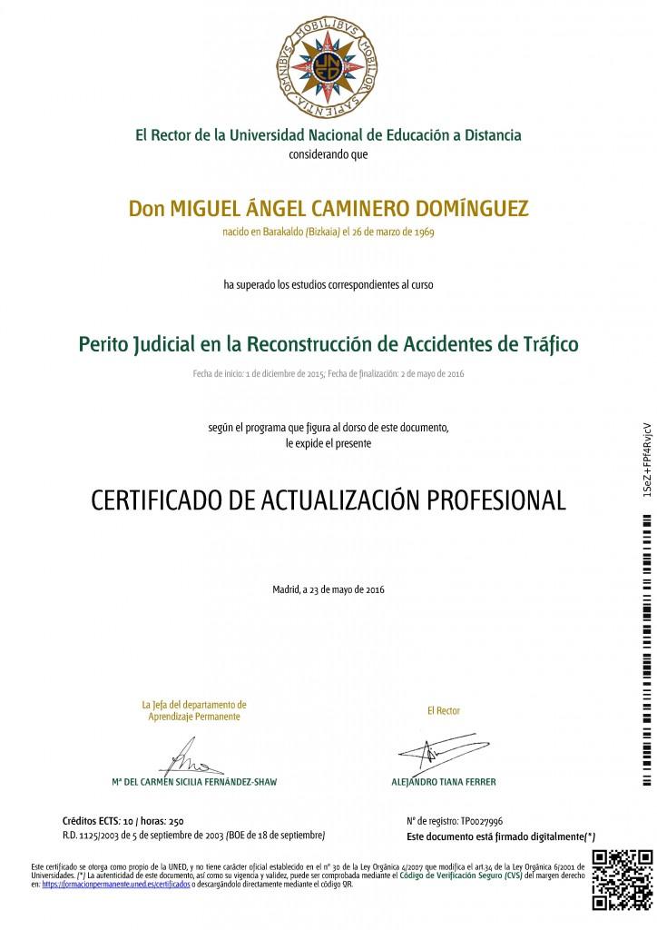 Miguel Angel Caminero Domínguez, detective privado, título perito judicial reconstrucción de accidentes de tráfico