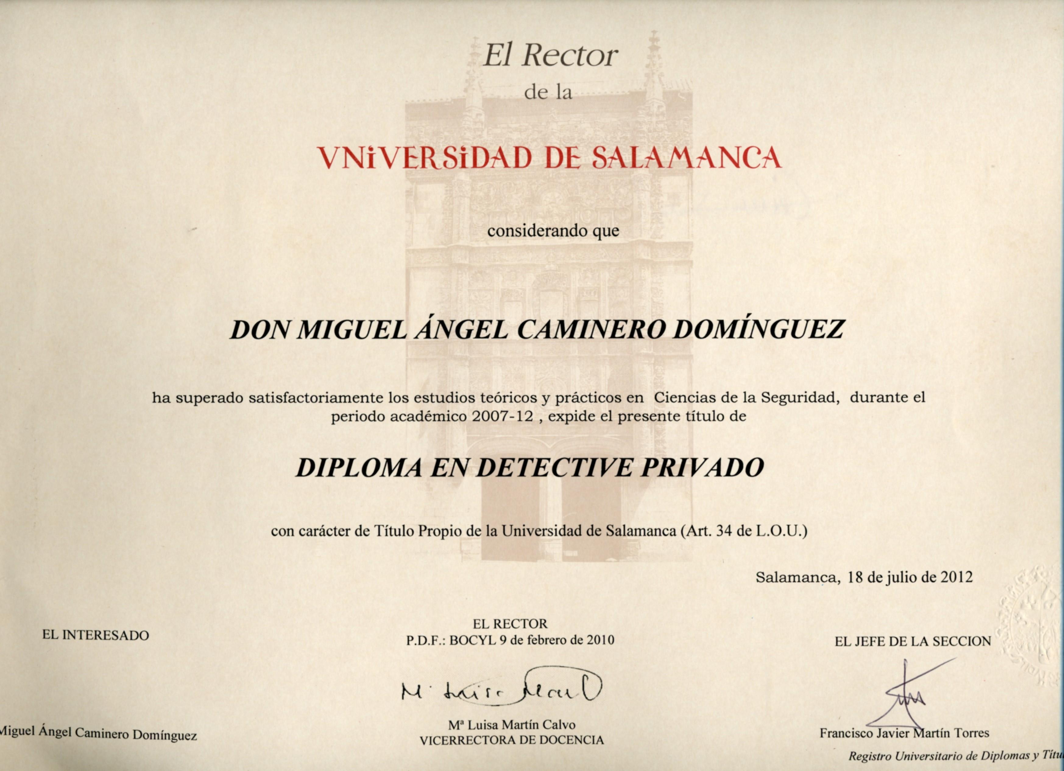 Universidad, título Detective Privado